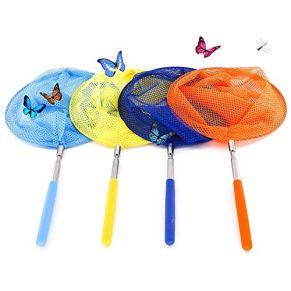 ZARRS Redes Telescópicas,4 Pack Butterfly Net Extensible Redes de Pesca con la Manija Estirable para Atrapar Insectos Mariposa Insectos Peces Pequeños
