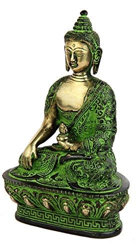 "StatueStudio latón Estatua de Buda con Cuenco Sentado Bronce Budista Sakyamuni 7"" 4"