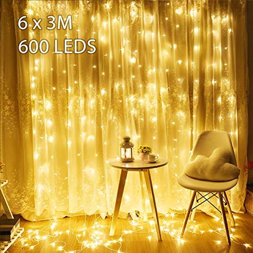 Stringa Fata Luci Tenda di Luci Avoalre 600 Lampadine 6x3M Lampada Catena Luminosa Illuminazione...