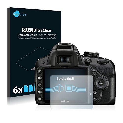 savvies 6-Pezzi Pellicola Protettiva Compatibile con Nikon D3200 Protezione Schermo Trasparente
