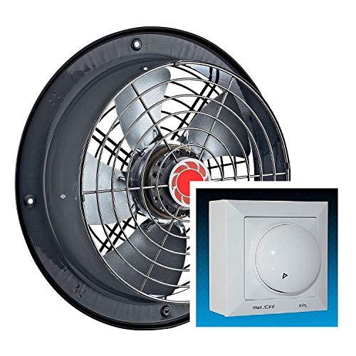 Ventilatore industriale da parete in metallo da 250 mm con regolatore di velocità da 600 Watt,...