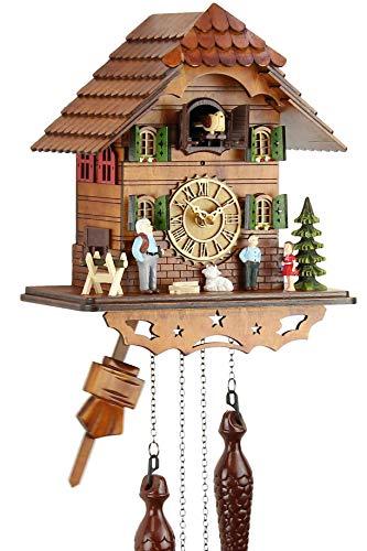 Eble - Orologio a cucù in vero legno, movimento al quarzo, funzionamento a batteria, 25 cm, con musica, Casa di Heidi, 60820000