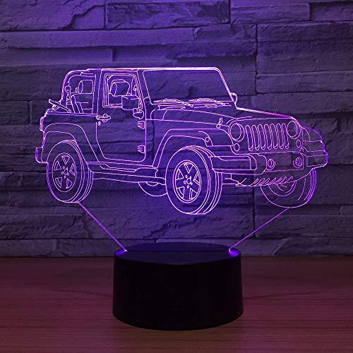 Wlwhaoo Nuova Lampada 3D Jeep 7 Luci A Led A Colori Per Bambini Touch Led Lampada Da Tavolo Usb Baby...