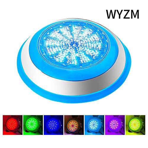 LED Poolbeleuchtung Unterwasser,54W AC 12V RGB Mit Fernbedienung Poolbeleuchtung,Wasserdicht IP68 Wandhalterung für Teichbeleuchtung,Edelstahl Schale Unterwasser Beleuchtung (Wall Mounted 54W-RGB)