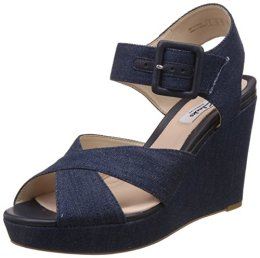 Clarks Women's Lonan Grace Denim Leather Fashion Sandals