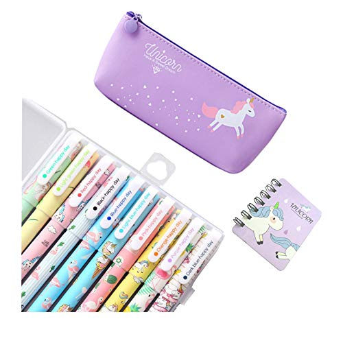 Unicorno Penne,SmileStar 10pcs Unicorno Penne di Colori e Astuccio e Unicorno Taccuino per Matita...