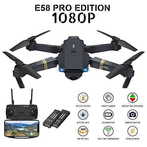 RC2 Corporation Drone con Telecamera, E58 2 Batteria Pieghevole Drone con WiFi FPV HD 1080P App...