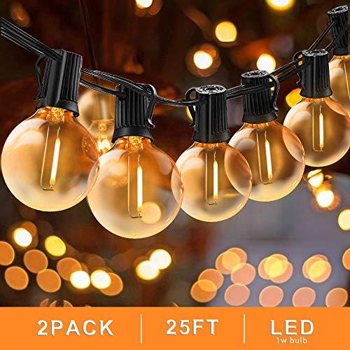 Svater Catena Luminosa Lampadina, 2x25FT Commerciale Catena Lampadine LED Esterno con 2x25 G40...