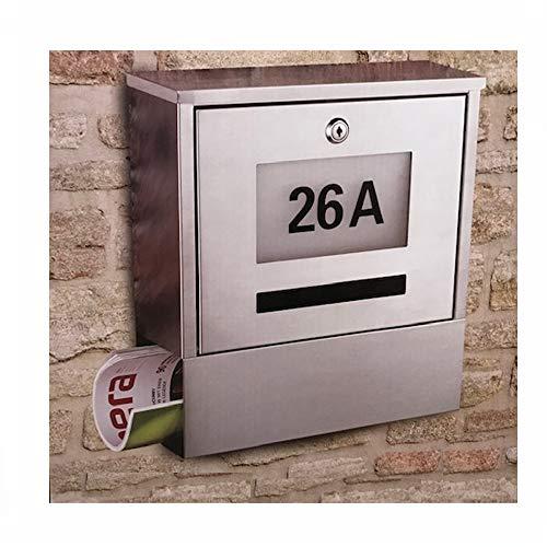 Edelstahlbriefkasten Briefkasten Postkasten Solar Solarbriefkasten mit Zeitungsrolle + beleuchtete Hausnummer 31 cm x 33,5 cm x 10,5 cm