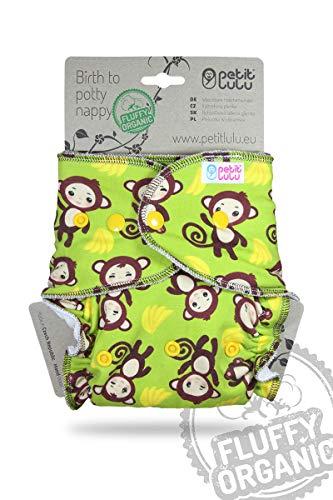 Petit Lulu Pannolino Mutandina Bambù Fitted Taglia Unica   Bottoni   Fluffy Organic   Pannolini di stoffa   Pannolini lavabili (Monkey Business)