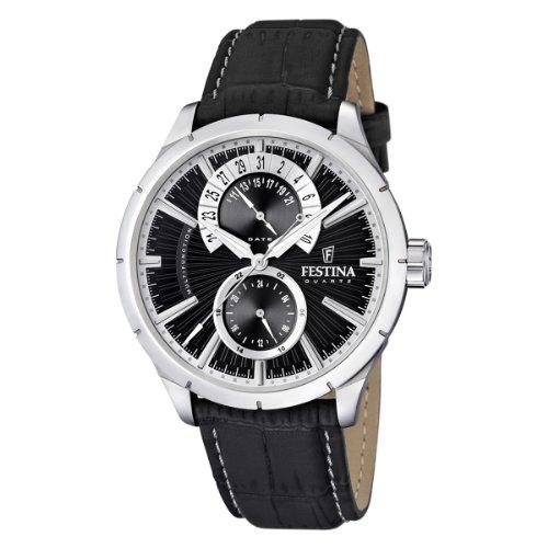 Festina Herren Analog Quarz Uhr mit Leder Armband F16573/3