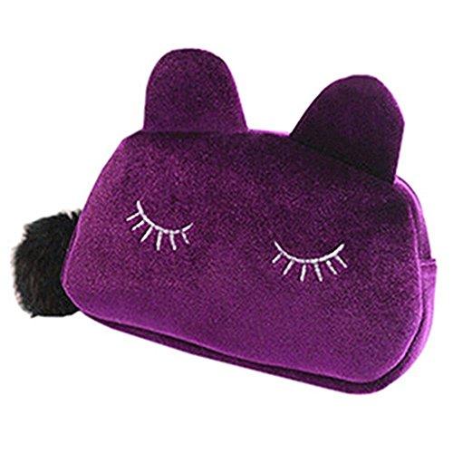 Haodou, pochette porta trucchi da donna, in flanella, con chiusura lampo, a forma di tenero gatto,...