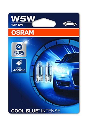 OSRAM COOL BLUE INTENSE W5W lampada alogena per luce di posizione o targa per auto, 2825HCBI-02B,...