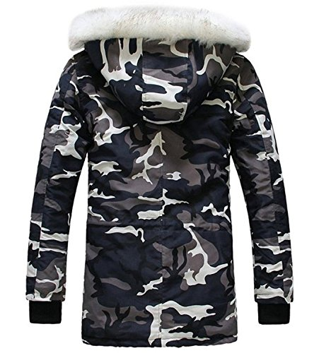c6ef32a963e LILBETTER Men s Hooded Faux Fur Camouflage Warm Coats Outwear Winter Jackets  ...