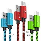 Câble USB C [1m+1.5m+2m/Lot de 3], Gritin Câble Type C en Nylon Tressé Câble Connecteur Ultra Résistant pour Samsung,Huawei,Nexus,etc-Multicolore