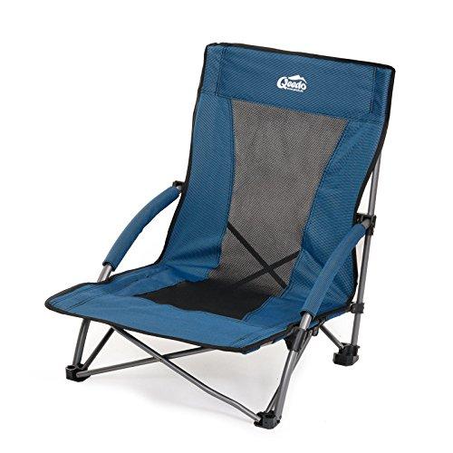 Qeedo Johnny Beach Strandstuhl (faltbar) inkl. Netzbelüftung (Gewicht: 3.180 g / Packmaß: 70x14x17 cm), breite Standfüße (Sand) & niedrige Sitzhöhe (22 cm)