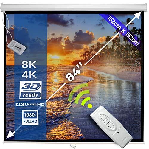 Schermo per Proiettore Elettrico 152x152cm | 85'' / 215cm, Formati 1:1, 4:3, 16:9, HDTV, Fattore...