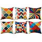 Topfinel Colorido geométrico algodón Lino Fundas de cojín para sofá Almohadas Home Decorativo Juego de 6, 45x45cm,Serie