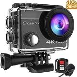 Crosstour 4K 20MP Action Cam WIFI Telecomando Subacquea Camera con Microfono Esterno Anti-Agitazione Time-Lapse e 2 Batterie Ricaricabili e 20 Kit di Accessori (CT8500)