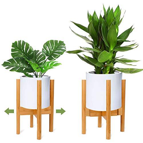 RIOGOO Pflanzenständer, Retro Mitte des Jahrhunderts erweiterbarer Pflanzenhalter, Holz-Blumentopf-Ständer Topfgestell für Innen- und Außenbereiche, bis zu 12 Zoll Pflanzgefäß, natürlich(1 Packung)