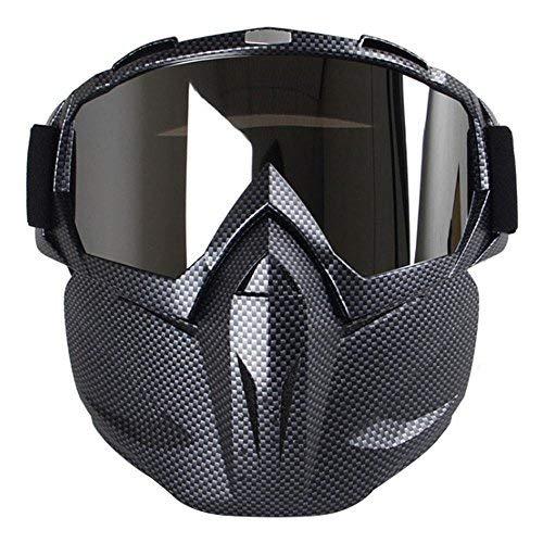 Kobwa - maschera per moto con occhiali, antinebbia, antivento, casco a viso aperto per motocross,...