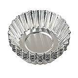 Lucky Will 20 Stück Silber Ton Edelstahl Puddingform Cupcakeform Backform Torteletts Muffinform 7CM