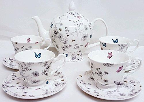 Secret Garden juego de té 9piezas porcelana china Flores Mariposas Abejas grande tetera y 4tazas y 4platillos de pintada a mano en Reino Unido