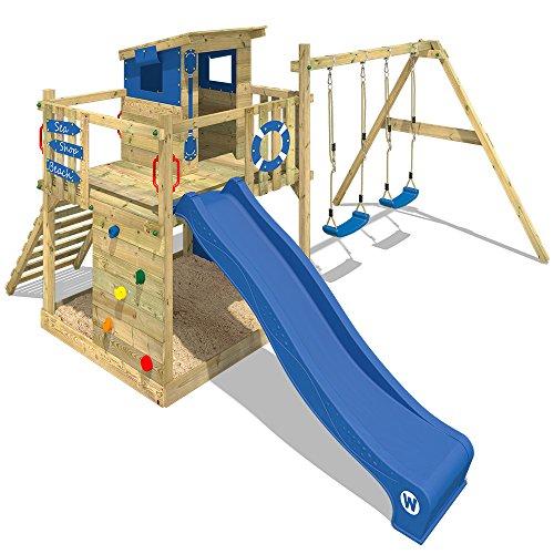 WICKEY Aire de jeux Smart Camp Tour de jeux Tour d'escalade avec toit incliné en bois 2 sièges de balançoire sablière mur d'escalade, toboggan bleu + bâche bleu
