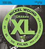 D'Addario EXL165 Cordes longues en Nickel pour Basse Custom Light, 45-105...