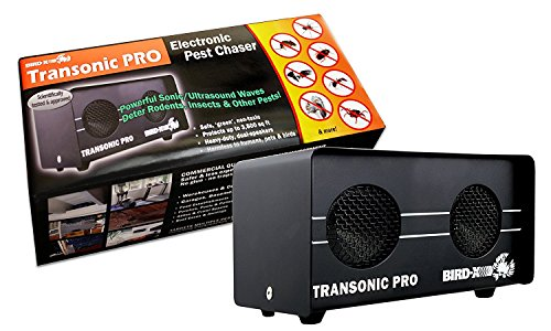 Bird-X Transonic Pro, Dual Speaker 220 V (9L X 9W X 4H Inches). Electronic Rodent and Pest Repeller