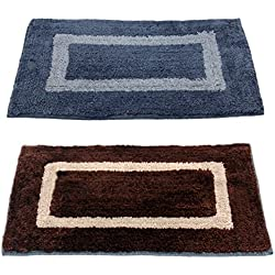 """Story@Home Handicraft Style Eco Series 2 Piece Cotton Blend Door Mat - 16""""x24"""", Brown and Grey"""