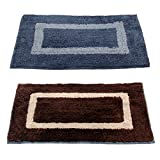 "Story@Home Handicraft Style Eco Series 2 Piece Cotton Blend Door Mat - 16""x24"", Brown and Grey"
