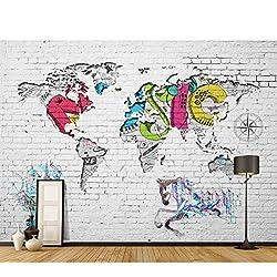 3D Papier Peint Murale Salon Chambre Chambre Toile de Fond TV Mur De Briques Graffiti Carte Du Monde Fond D'écran Fond D'écran Pour Murs En Tissu De Soie (W)500x(H)280cm
