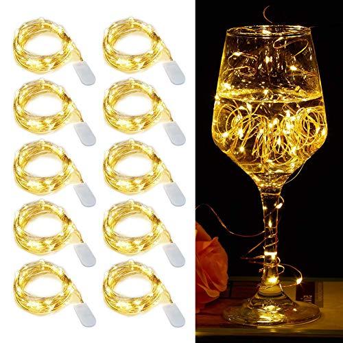 【10 pezzi】Luci Stringa LED - 20 LED 2M Mini Lampada a fili di rame Bianco Caldo, Lucine...