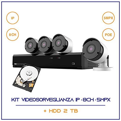 KIT VIDEOSORVEGLIANZA IP POE NVR 8 CANALI 4 TELECAMERE IP 5 MPX H265 CLOUD 2 TB