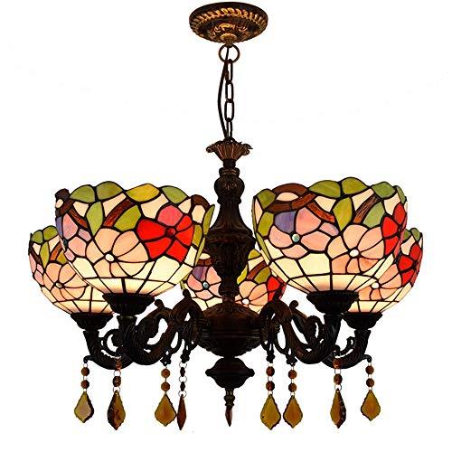 LHQ Pastoralismo Estilo Retro Hierro Arte Lámpara de Vidrio Barnizado Sala de Supervivencia Dormitorio Bar Lámpara Colgante de Cristal de Cinco Cabezas (Color : Multi-Colored)