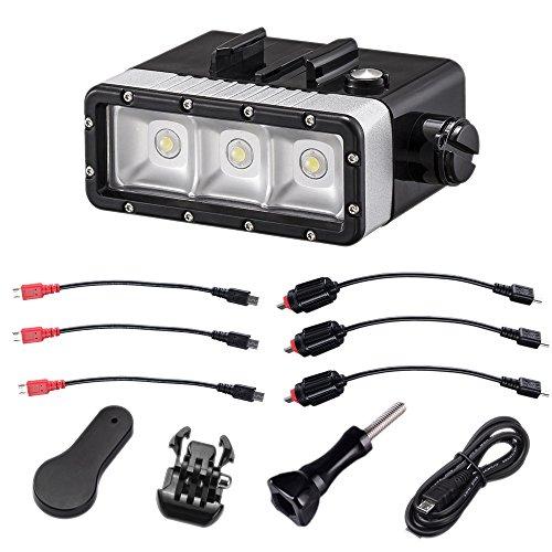 Suptig 5200mAh batteria impermeabile impermeabile luce ad alta potenza LED video fill luce notturna luce immersione per GoPro Hero 5Hero 4Hero 3+ Hero 3e SJCAM o Yi Action Camera