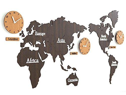 Mappa del mondo Orologio da parete Legna Acrilico Materiale Fai da te 3D Puzzle Adesivo da parete ,...