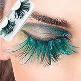 Arison Lashes Feder falschen Wimpern super weich Handgemachte Künstliche Wimpern grüne Sonder Maskerade Bühne 1 Paar
