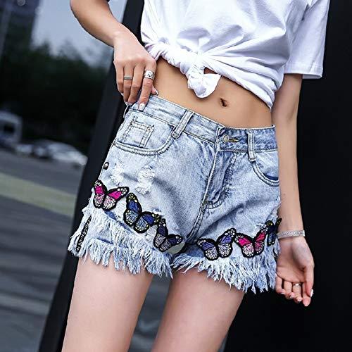 DBLSHA Las Mujeres del Verano del Bordado De La Mariposa Pantalones Cortos De Mezclilla De La Manera Femenina Streetwear Borla Agujeros Rasgados Pantalones Vaqueros Pantalones Cortos