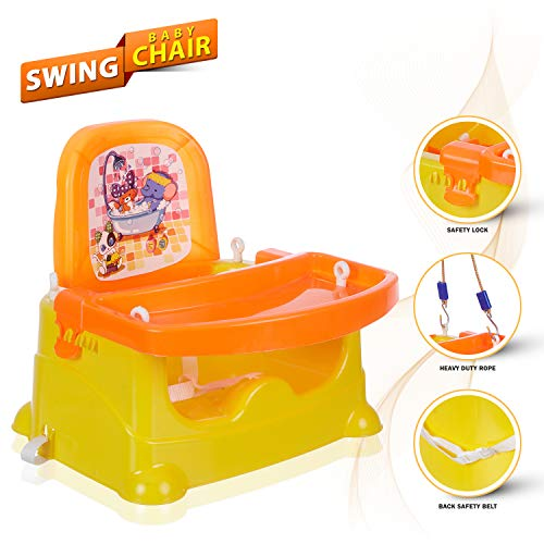 NHR Baby Booster Chair/Feeding Chair/High Chair/Car Seat, Bath Seat with 3 Level Table Adjustment and 4 Point Safety Harness (Orange)