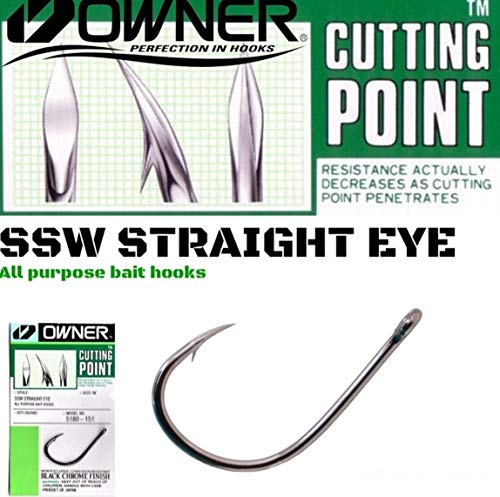 Owner Ami SSW Straight Eye All Purpose Hooks 5180 4/0-5/0-6/0-7/0 Cutting Point Affilato Chimicamente da Mare per Traina Driffting (4/0)