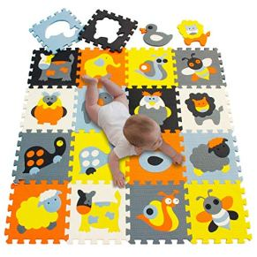 meiqicool Alfombrillas para Puzzles   Alfombra Puzzle para Niños Bebe Infantil 18 Piezas Suelo de Goma EVA Suave 142 x…