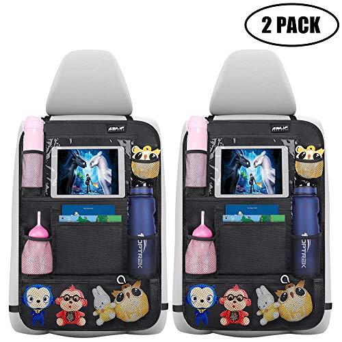 Auto Rückenlehnenschutz Ezilif 2 Stück Groß Auto Rücksitz Organizer für Kinder, 600D Oxford Stoff Wasserdicht Rücksitzschoner mit 12 Zoll iPad/Tablet-Tasche, Kick-Matten-Schutz für Autositz