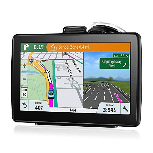 Lesgos Car GPS, 7 Inch 8GB 40 Languages Waterproof Navigation System Vehicle GPS Units & Equipment for Cars Lifetime Map Updates Touch Screen Real Voice Direction Vehicle GPS Navigator