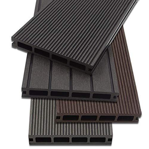 Home Deluxe - WPC Terrassendiele Hellgrau - Menge: 10 m² - 4 verschiedene Farben - Inkl. Unterkonstruktion und komplettem Zubehör
