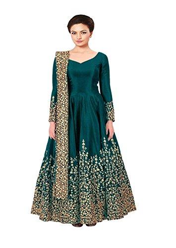 MRS WOMEN Taffeta Silk Embroidered Semi-Stitched Anarkali Gown ...