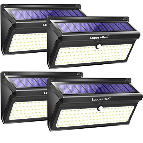Luci Solari da Esterno 100 LED,Luposwiten 2000 LM Lampade Solari a Led da Esterno, 125°Pannello con...
