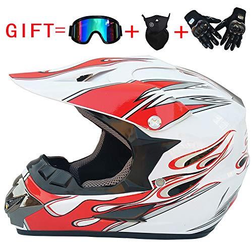 LANLAN Casco integrale di uomo personalizzato per motocross, casco + guanti + occhialoni + maschera...