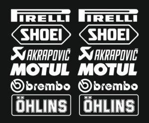 1x Set Nr.3 (12 Aufkleber weiss ,Farbwahl) PIRELLI AKRAPOVIC Tuner Logo 16cm Decal Tuning Aufkleber Sticker Auto Motorrad Pick Up 1